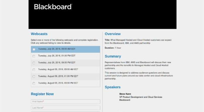 Register Now For The Blackboard, AWS & IBM Partnertship Webinar