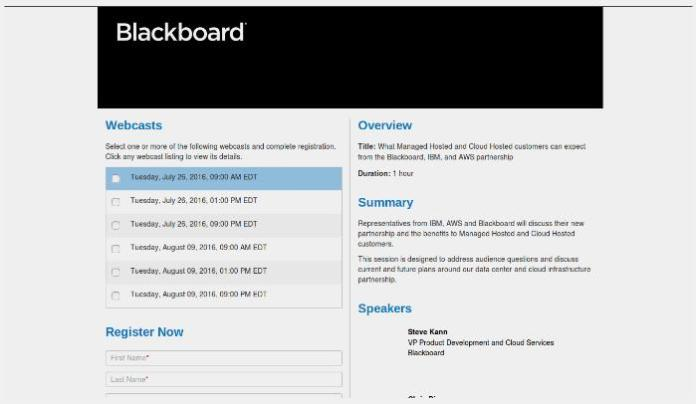 Register Now For The Blackboard, AWS & IBM Partnership