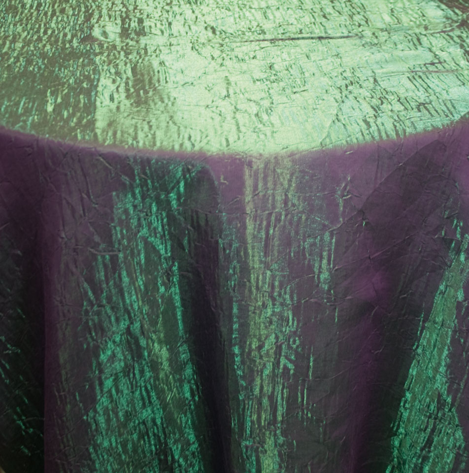 white ruched chair covers green accent chairs with arms crushed iridescent violet tablecloth - specialty linen rental