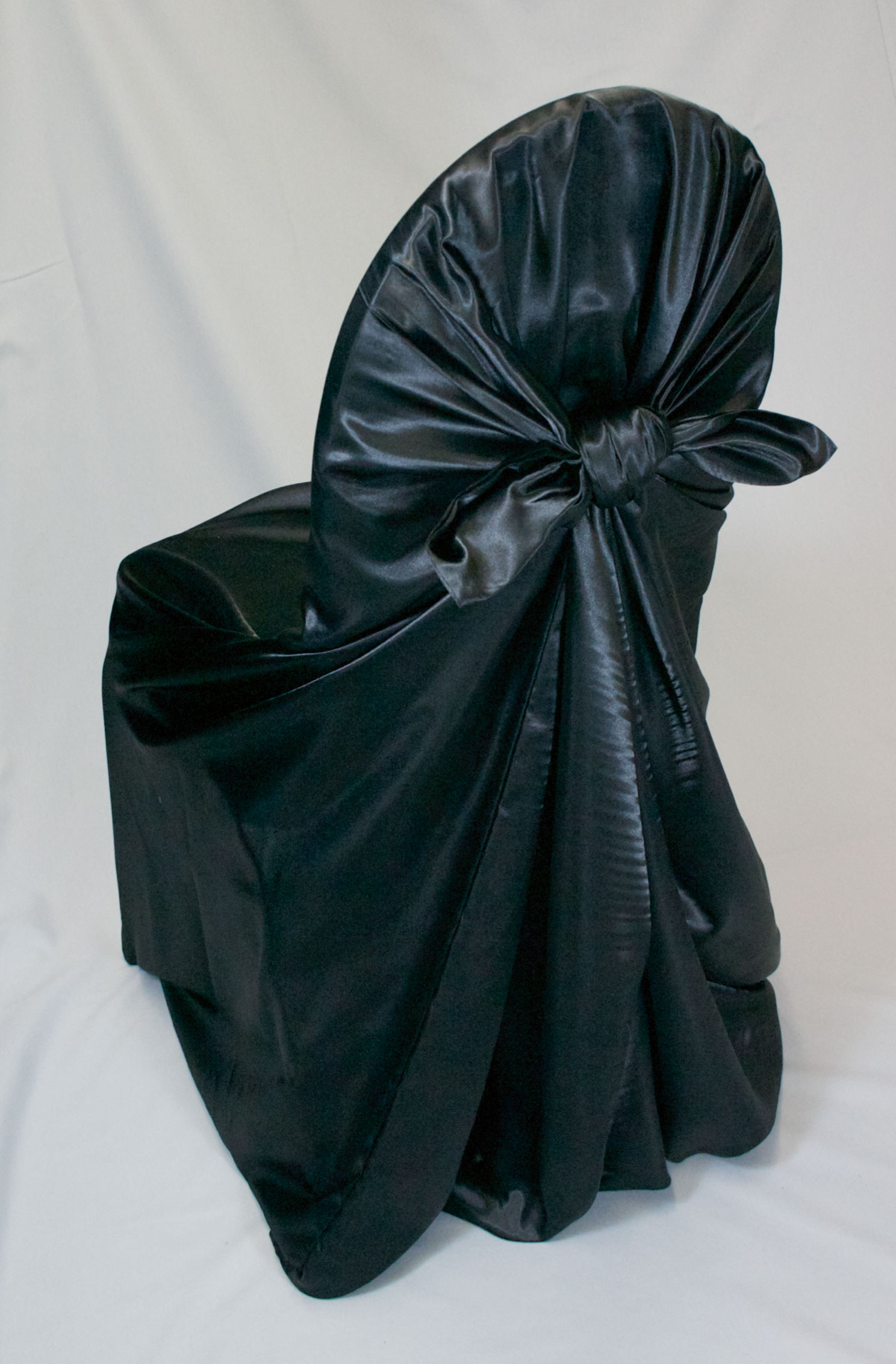 black ruched chair covers best outdoor rocking chairs satin self tie cover specialty linen rental