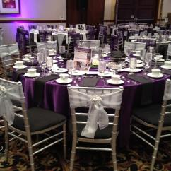 Chair Covers Rental Cleveland Ohio Ergonomic Replacement Parts Satin Aubergine Tablecloth Specialty Linen
