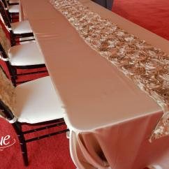 Tablecloths And Chair Covers For Rent Tiffany Wedding Chairs Satin Champagne Tablecloth Specialty Linen Rental