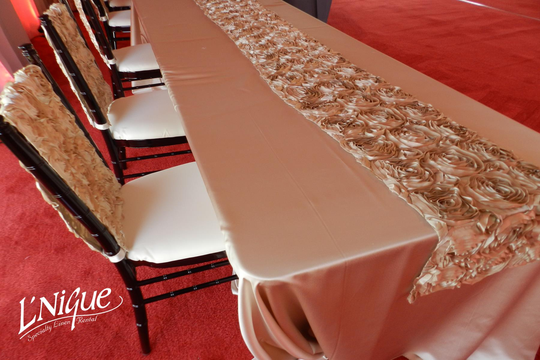 rent tablecloths and chair covers marshmallow chairs toddlers satin champagne tablecloth specialty linen rental