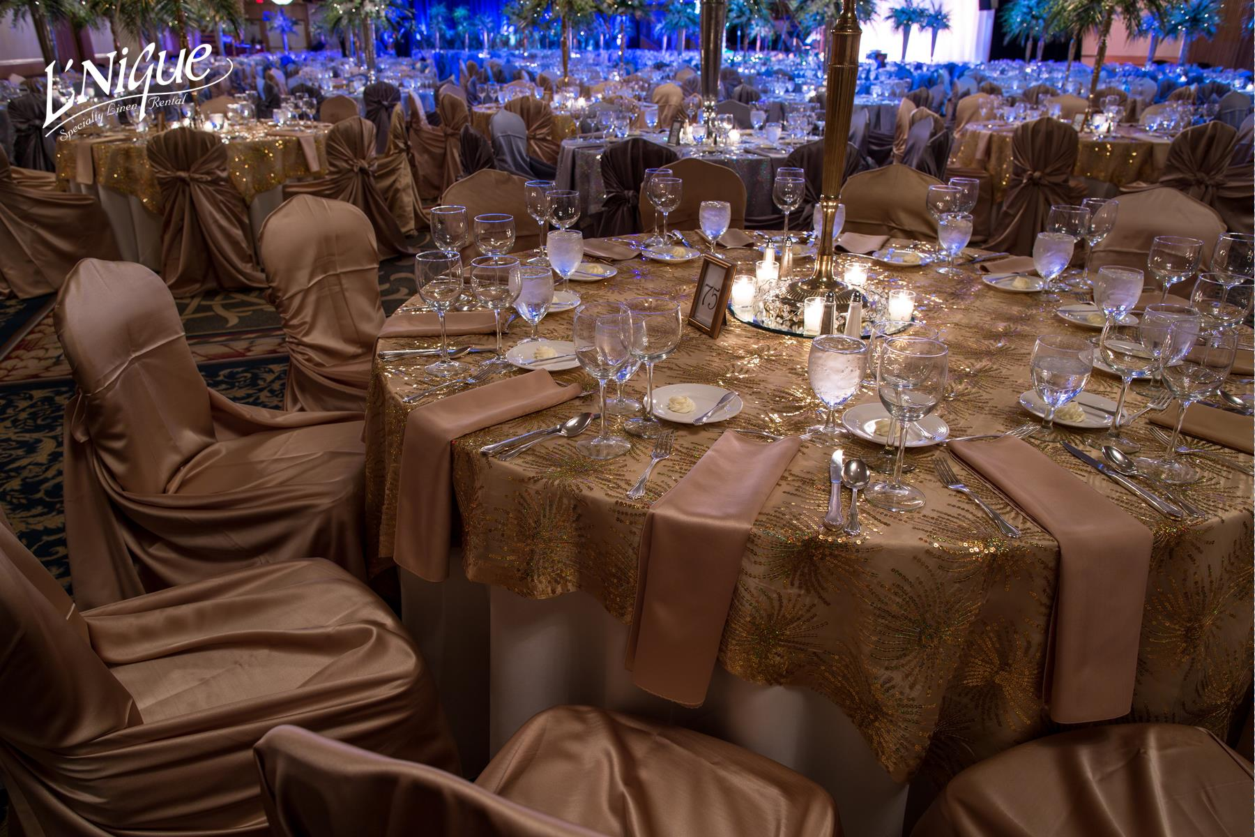 chair covers rental cleveland ohio ikea henriksdal uk satin gold napkin specialty linen