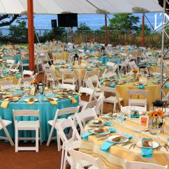 Ivory Chair Covers With Gold Sash Highwood Adirondack Satin Tiffany Blue Tablecloth - Specialty Linen Rental
