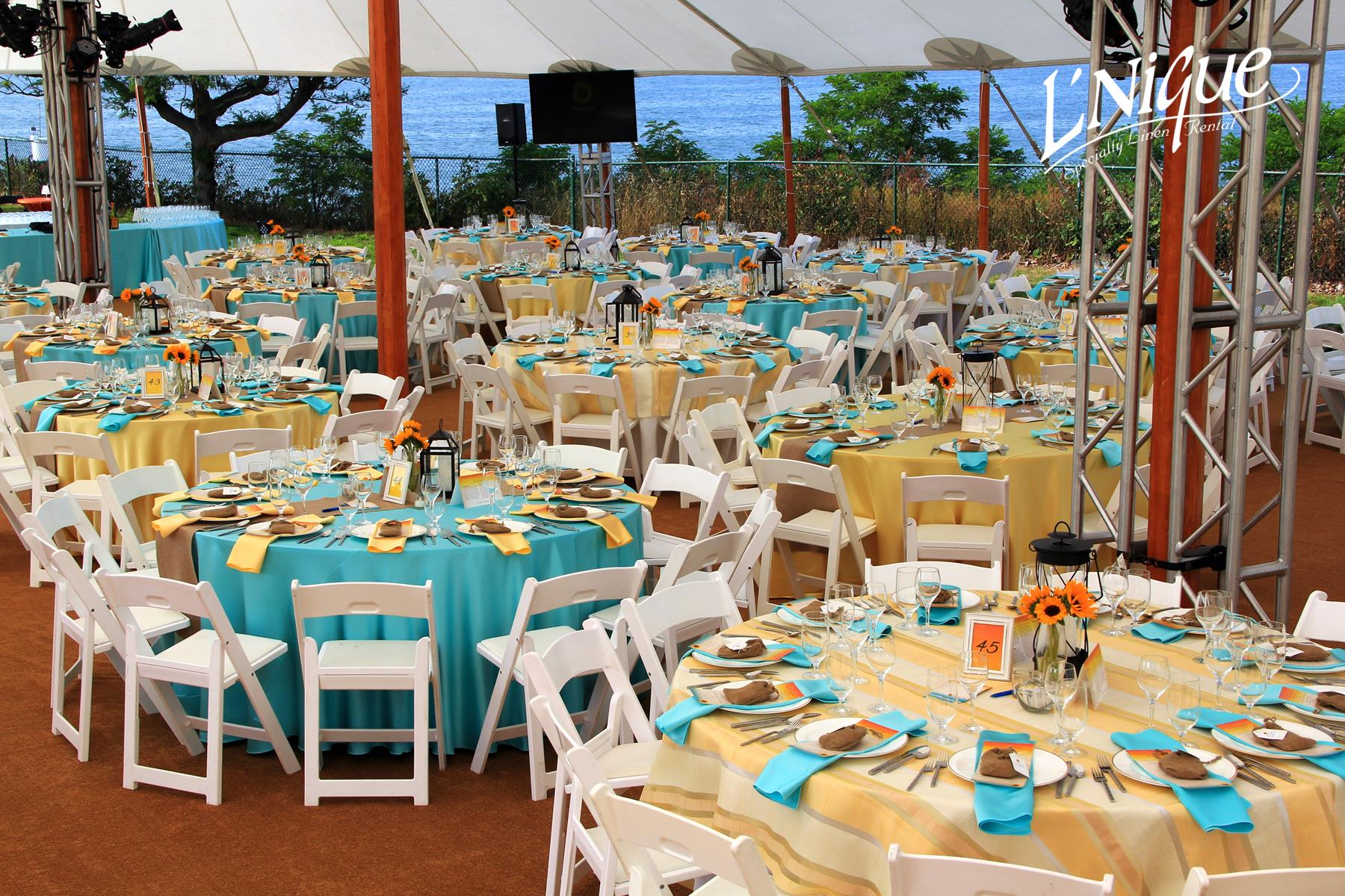 ivory chair covers with gold sash stacking office chairs arms satin tiffany blue tablecloth - specialty linen rental