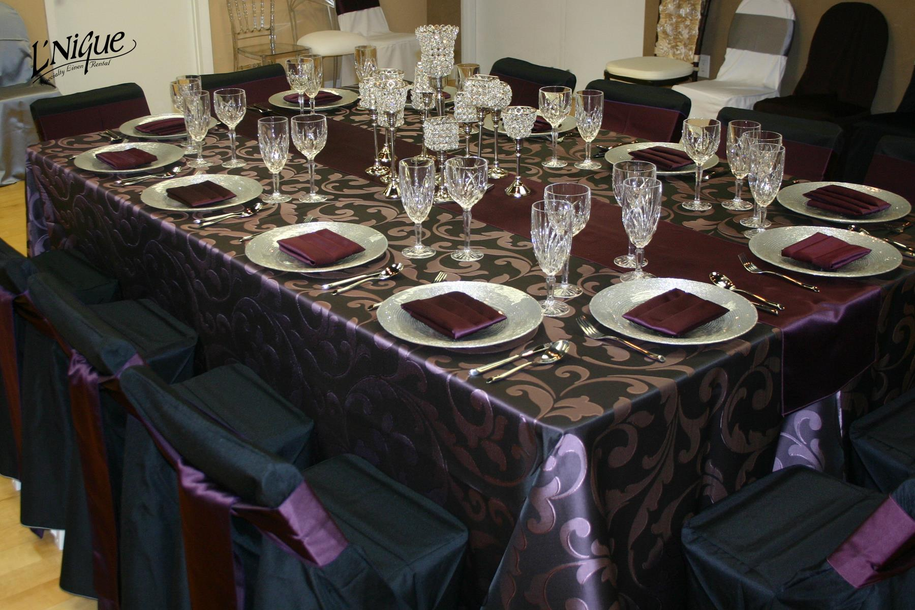 black ruched chair covers and sashes hire plum laura damask tablecloth - specialty linen rental