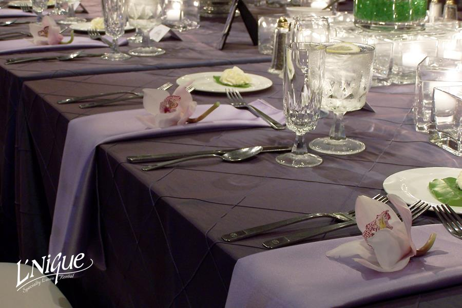 black ruched chair covers design analysis pintuck plum tablecloth - specialty linen rental