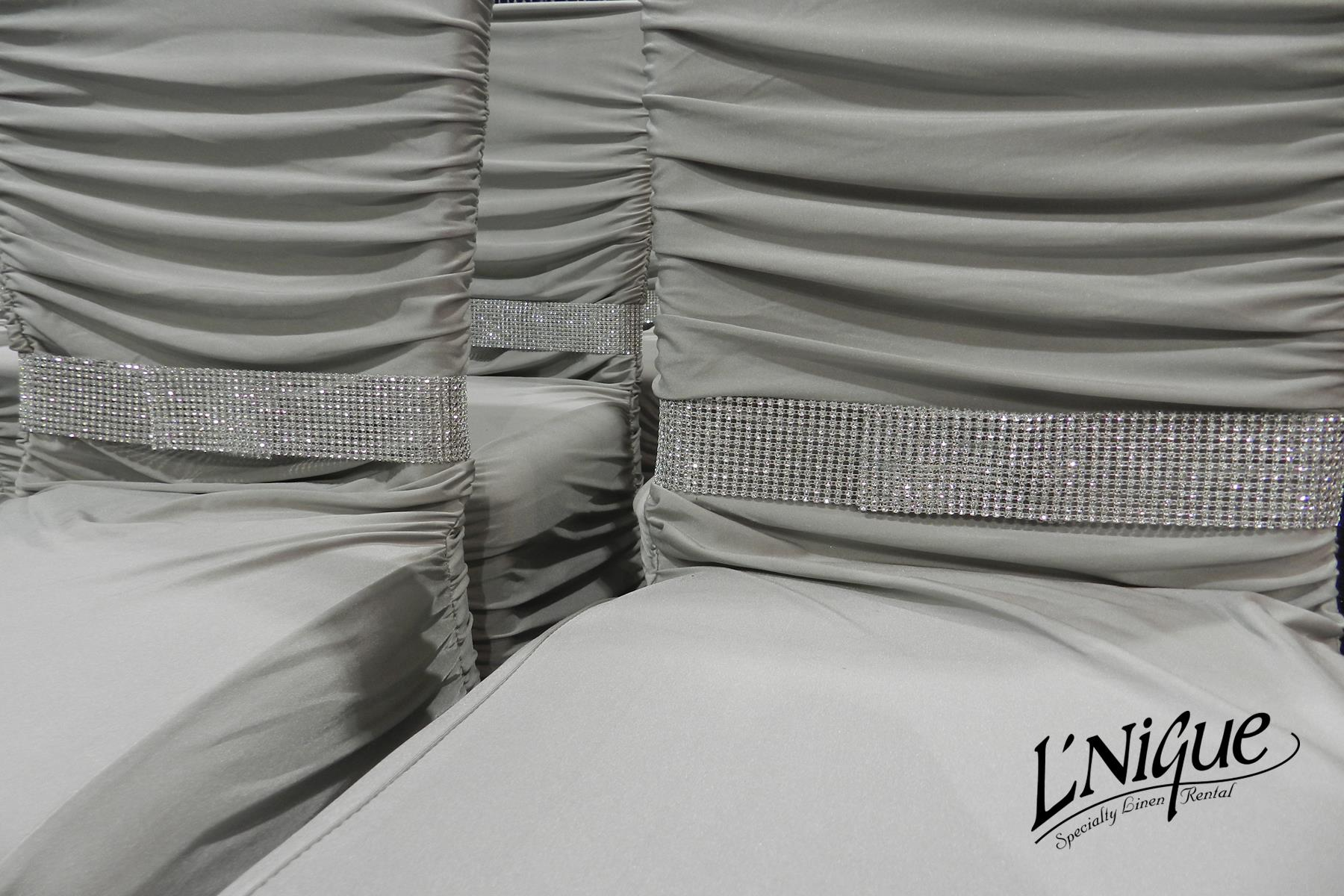 white ruched chair covers structured bean bag silver cover over chiavari specialty