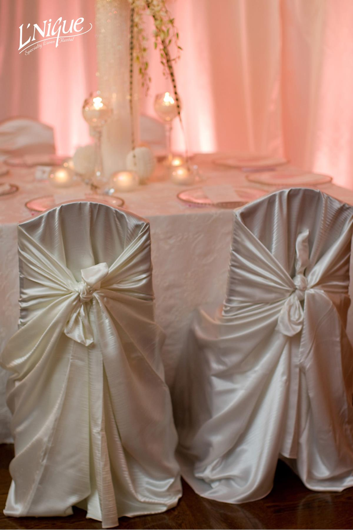 Champagne Satin Self Tie Chair Cover  Specialty Linen