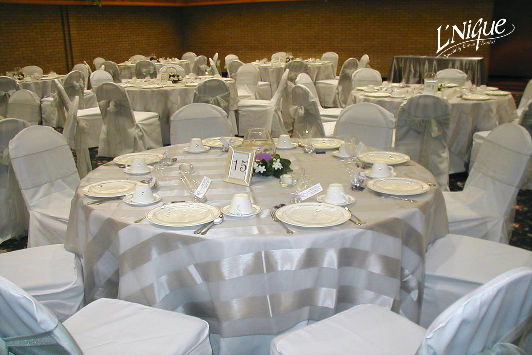 chair covers rental cleveland ohio leather rolling eternity stripe silver overlay specialty linen
