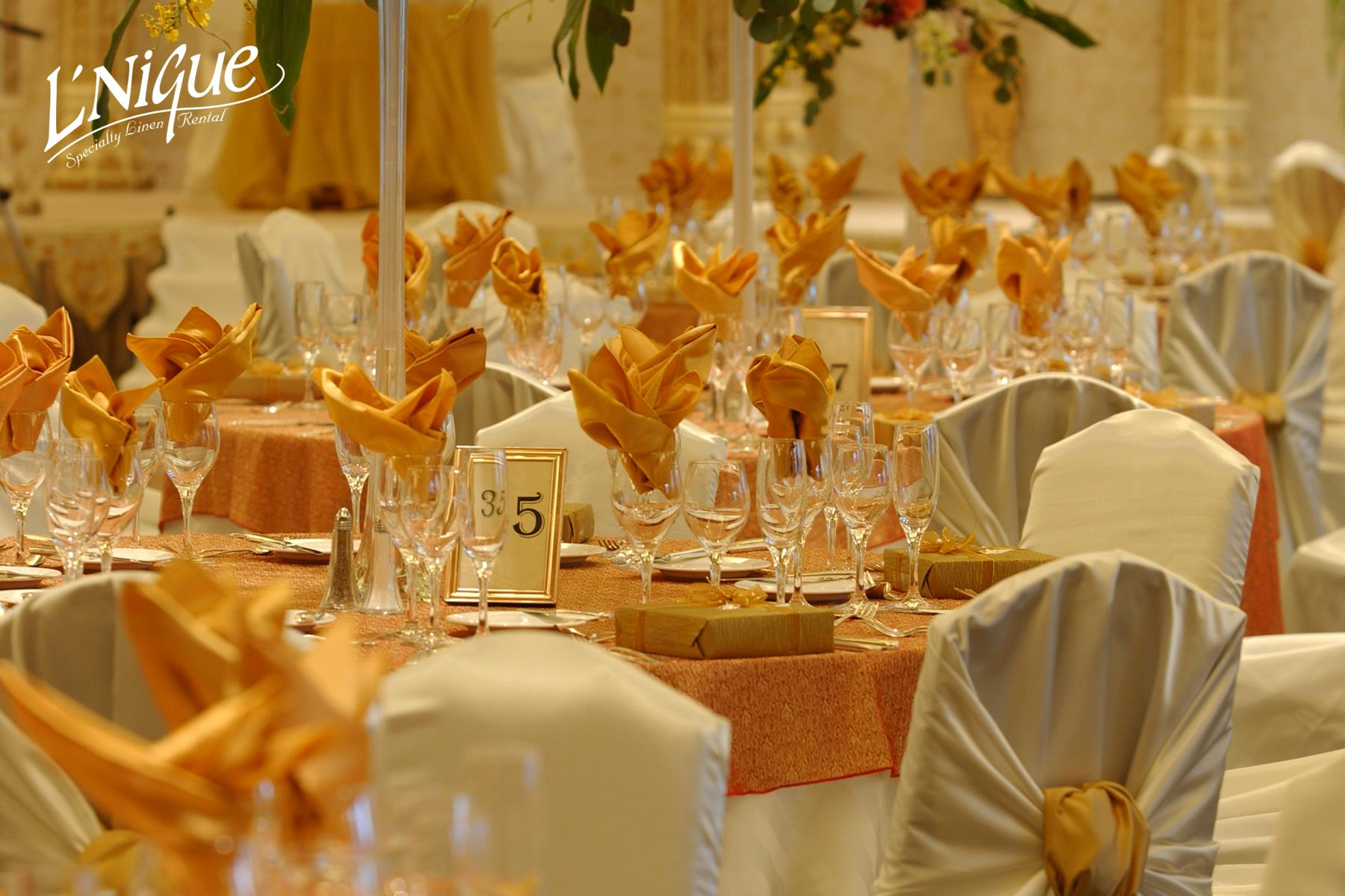 chair covers rental cleveland ohio living room set satin napkin gold specialty linen