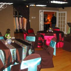 Chair Covers Rental Cleveland Ohio Refurbished Barber Chairs Satin Raspberry Tablecloth Specialty Linen