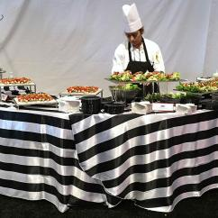 Yellow Spandex Chair Sashes Mic Stand Black And White Formal Stripe Satin Tablecloth - Specialty Linen Rental