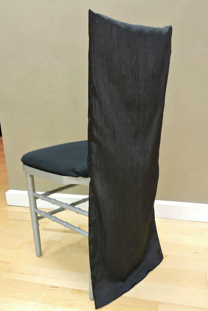 chair covers rental cleveland ohio ergonomic kneeling chiavari back - black crinkle specialty linen