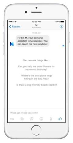 Facebook M screenshots