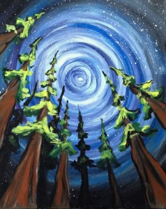 Forest Sky | The Loaded Brush Paint & Sip Classes | loadedbrushpdx.com