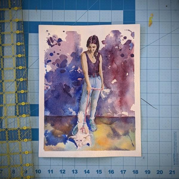 Watercolor ~ Elizabeth and Lucy | Aaron Ziobrowski | www.loadedbrushpdx.com