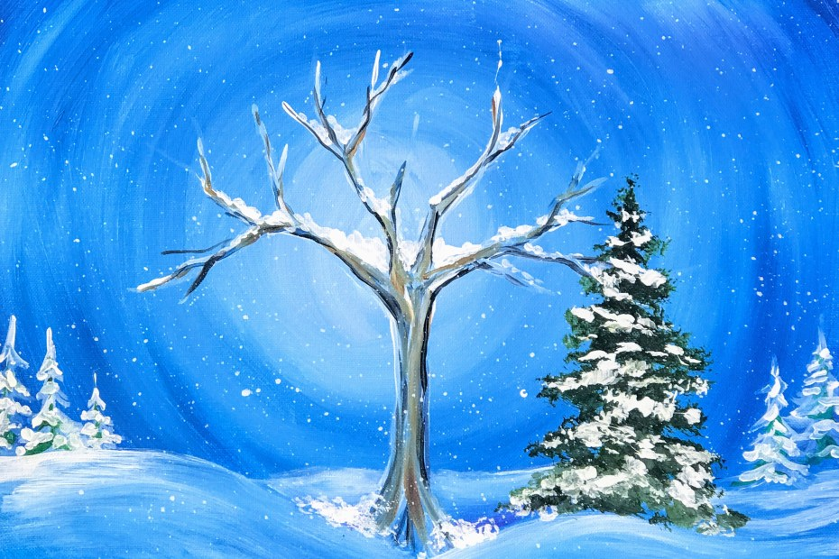Lonesome Winter Landscape | The Loaded Brush Paint & Sip Classes | loadedbrushpdx.com