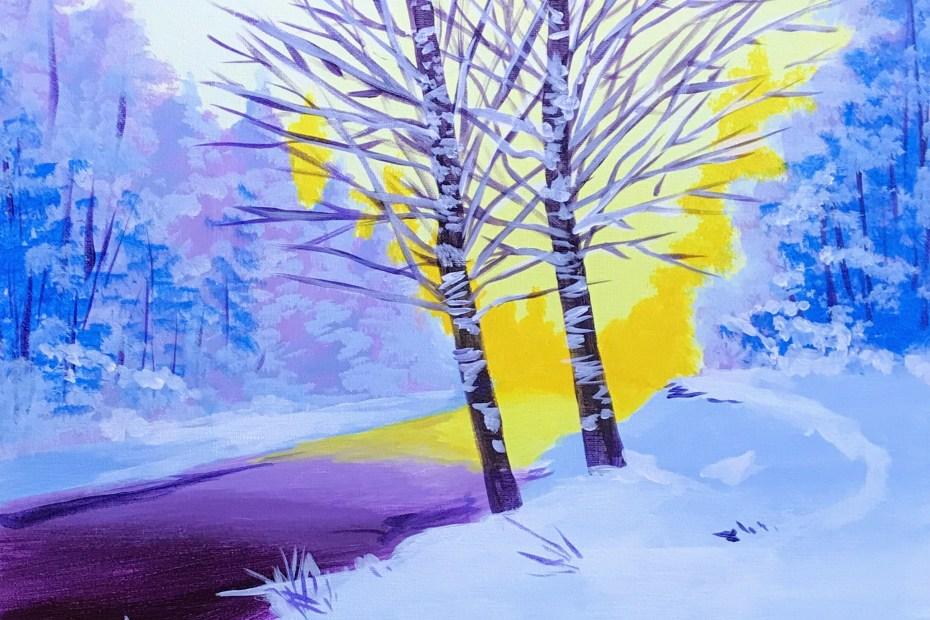 Winter Birch Landscape | The Loaded Brush | Portland, OR
