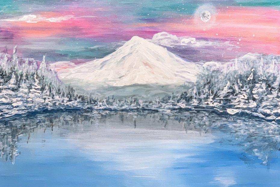 Trillium Lake Special Winter Edition | The Loaded Brush Paint & Sip Classes | loadedbrushpdx.com