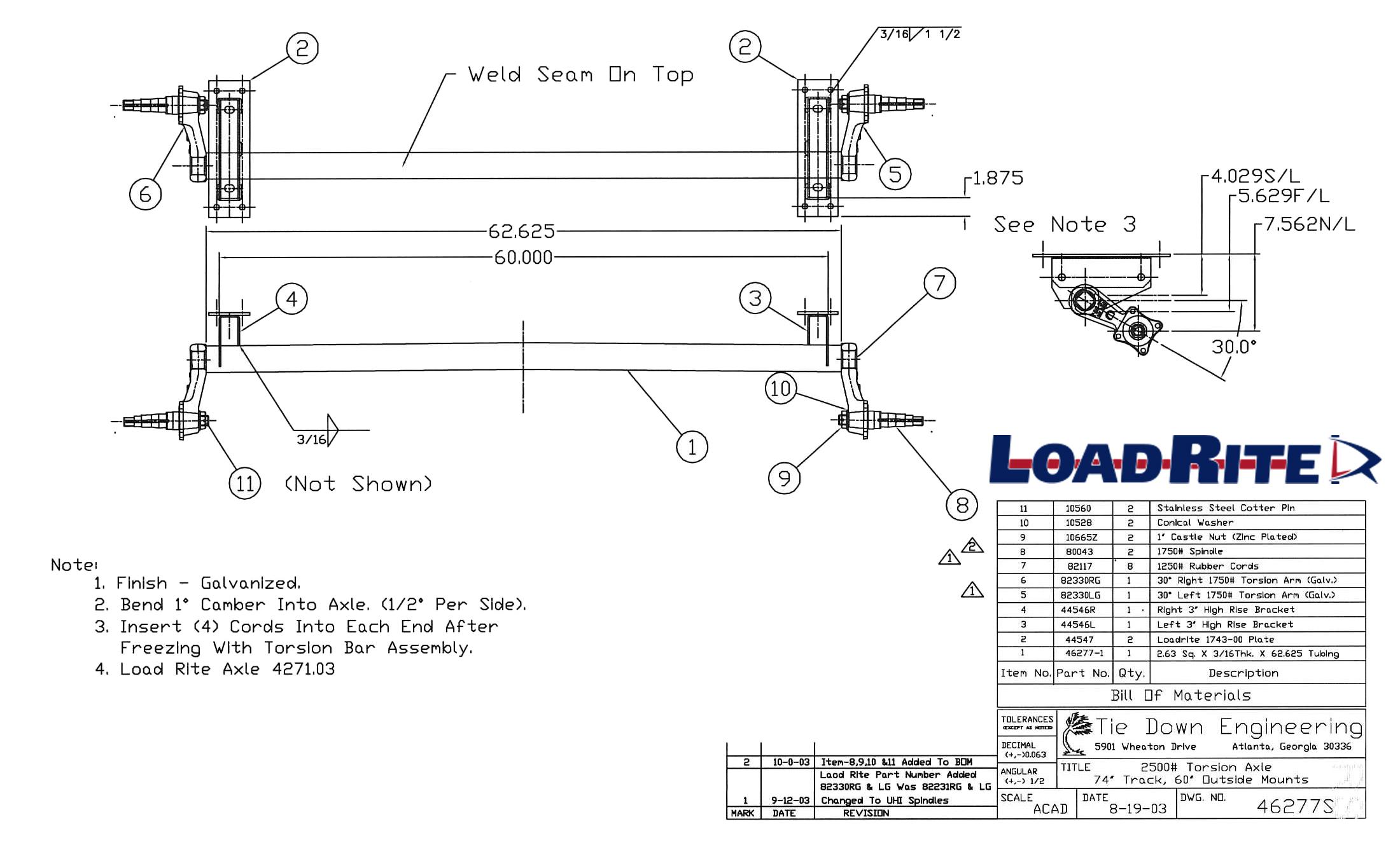 Lb Torsion Axle Assembly