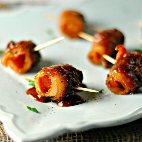 Maple Bacon Wrapped Andouille Bites