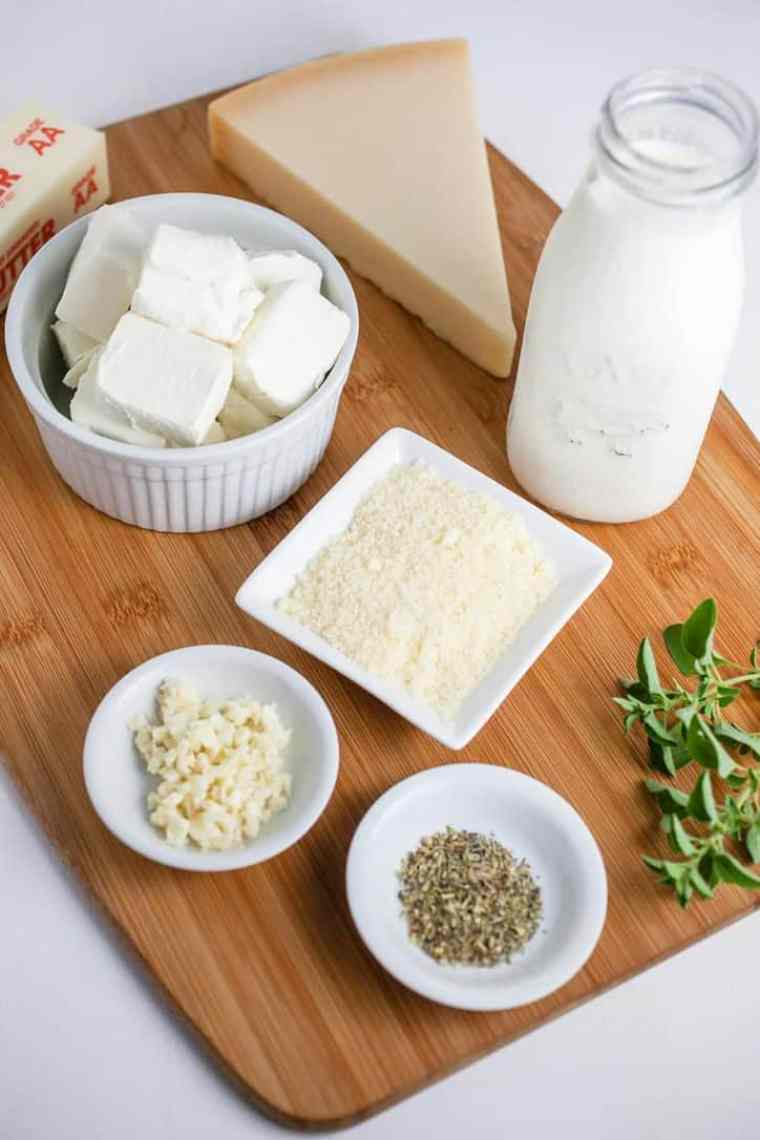 A photo of the ingredients for fettucini alfredo