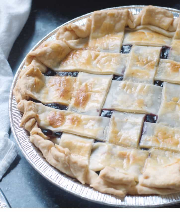 A close up of How to Make Blueberry Pie with Blueberry Pie Filling