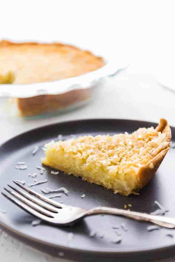 A slice of coconut custard pie