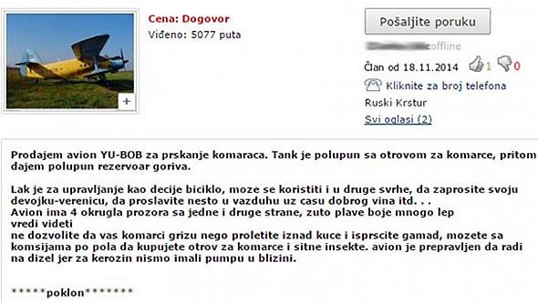 OGLAS Avion za prskanje komaraca - KupujemProdajem