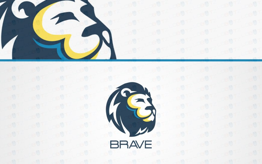 premade lion head logo