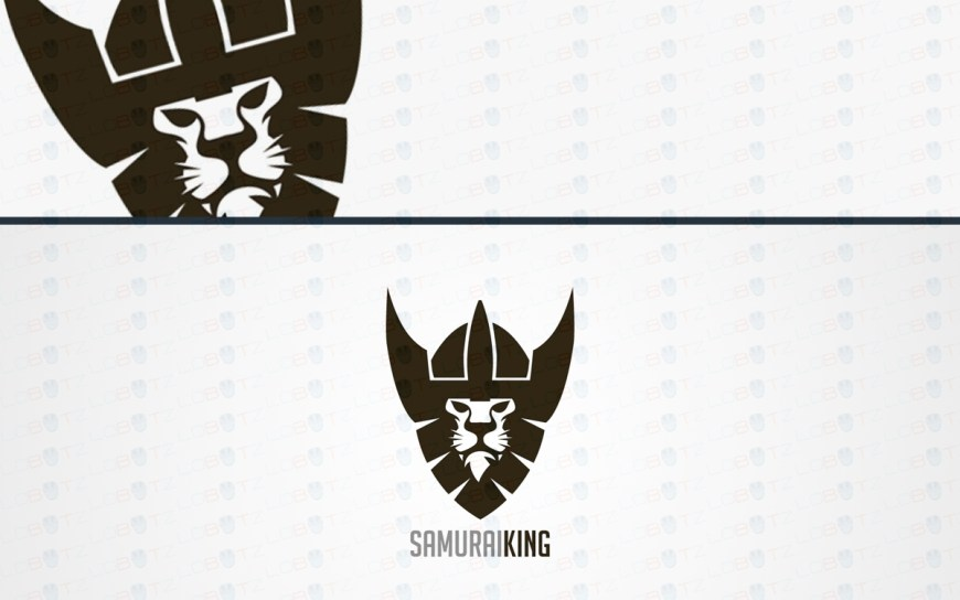 Samurai lion head logo for sale