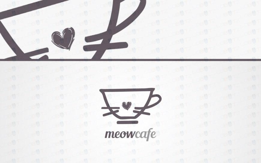 cat cafe logo for sale