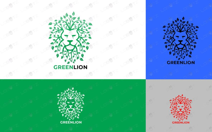 leaves leaf lion logo for sale green lion logo premade logos