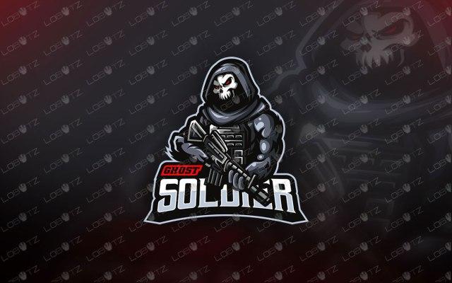 Skull Soldier Mascot Logo For Sale | Skull Soldier Mascot Logo reaper mascot logo