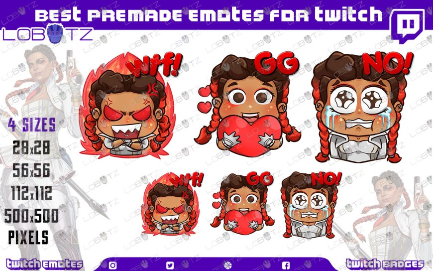 Apex Legends Loba Emotes / Loba Sub Badges For Twitch & Stream premade twitch emotes
