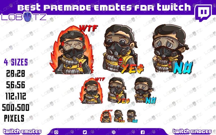Apex Legends Caustic Emotes | Premade Twitch Emotes Caustic
