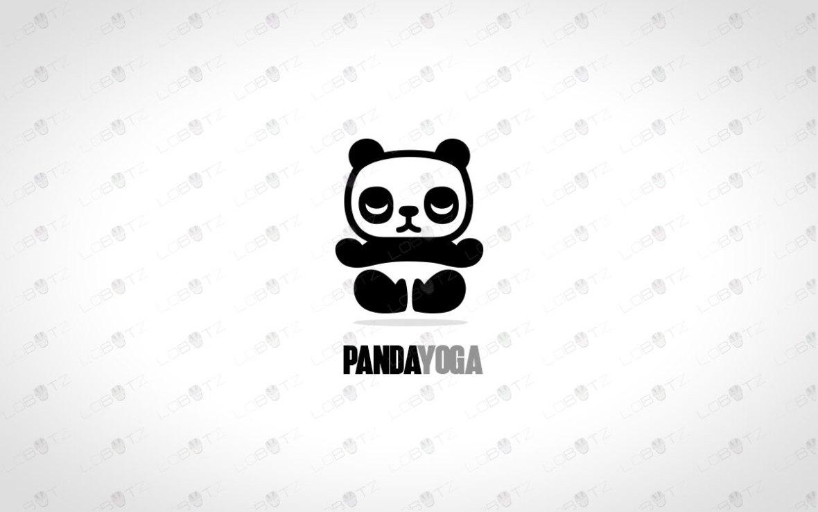 Calm Panda Logo For Sale | Panda Yoga Logo
