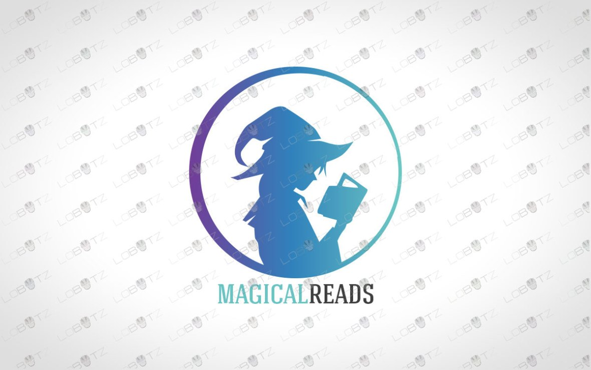 Wizard Girl Reading Book Logo For Sale