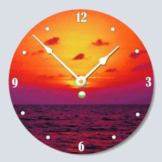 wall clock cordless with beautiful sunset photo on face