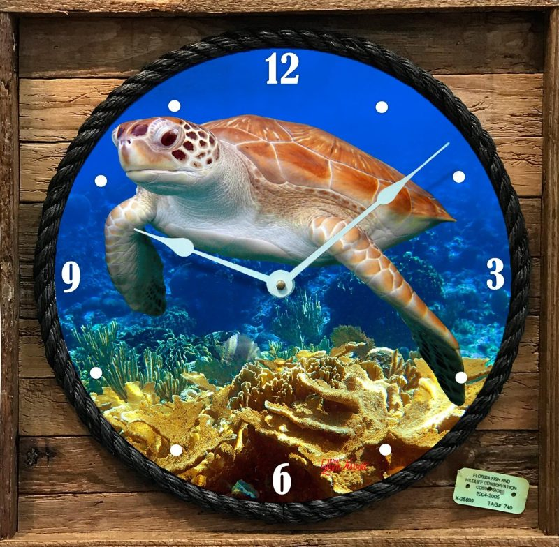 """FLYING OVER THE CORALS "" FRAMED CLOCK"