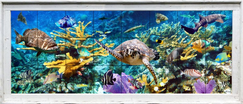 framed underwater scene on ceramic tiles with turtle, fish, coral, in a dramatic underwater scene