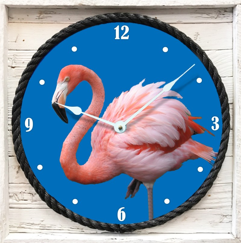 Flamingo Clock Framed