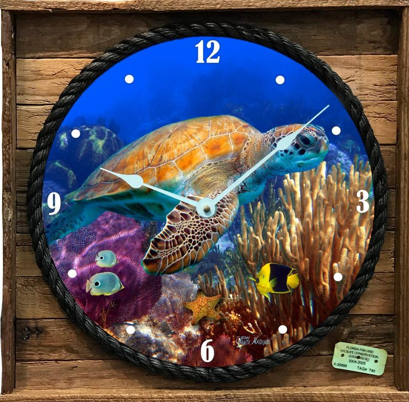 Turtle and Angelfish Clock in Lobster Trap Frame
