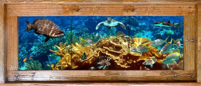 """8""""x24"""" Tile Murals in Single Slat Lobster Trap Frames"""