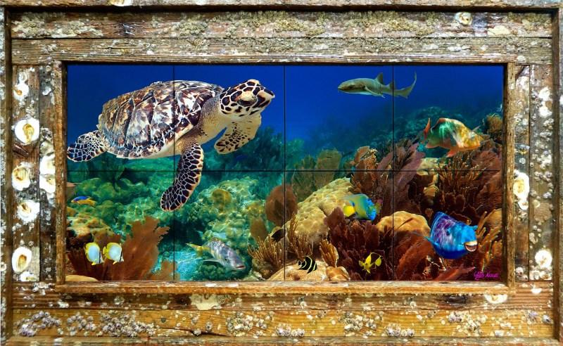 "12""x24"" Tile Mural Double Slat Barnacle Lobster Trap Frames $395"