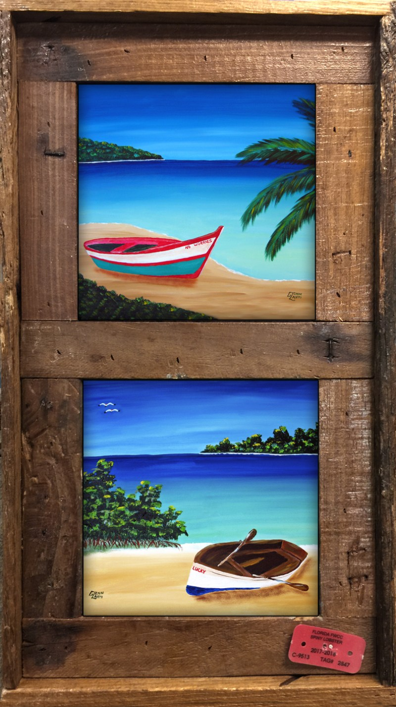 Lobster Trap Picture Frames With Multiple Ceramic Tiles