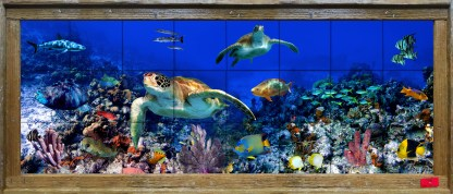 colorful reef tile mural with two turtles and many tropical fish