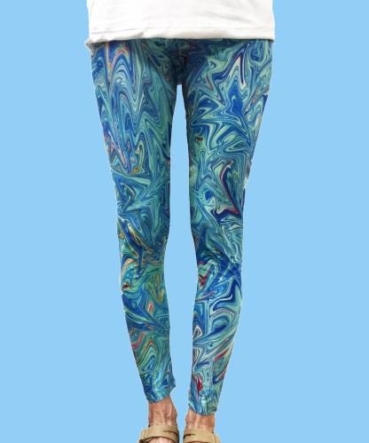 ladies leggings with a design of colorful ocean waves
